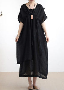 French o neck asymmetric cotton summer dress Sewing black Dresses
