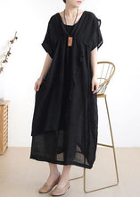 Load image into Gallery viewer, French o neck asymmetric cotton summer dress Sewing black Dresses
