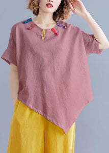 French o neck asymmetric linen cotton tunic top brown cotton top summer