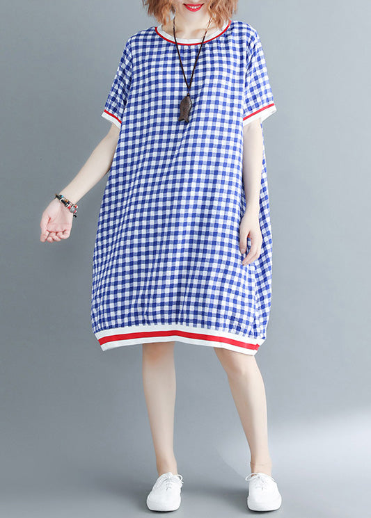 French o neck cotton outfit plus size Work Outfits blue Plaid Vestidos De Lino Dress Summer