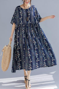 French o neck exra large hem cotton linen Soft Surroundings plus size Runway floral Art Dress Summer