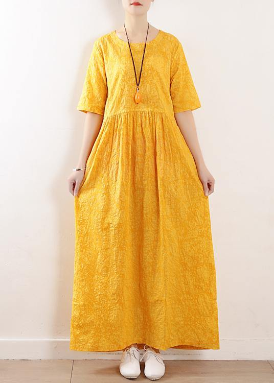 French o neck half sleeve cotton linen summer Robes yellow Dress