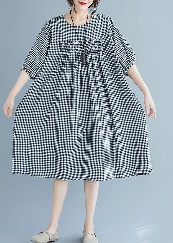 French o neck lantern sleeve clothes For Women pattern black Plaid Dresses summer