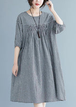 Load image into Gallery viewer, French o neck lantern sleeve clothes For Women pattern black Plaid Dresses summer