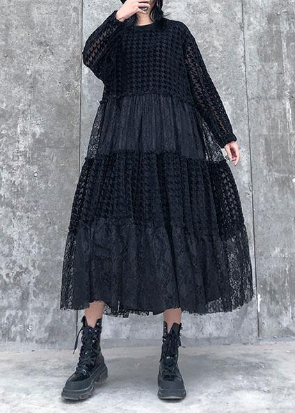 French o neck patchwork lace clothes Women Photography black long Dresses