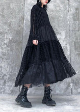 Load image into Gallery viewer, French o neck patchwork lace clothes Women Photography black long Dresses
