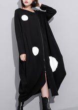 Load image into Gallery viewer, French o neck pockets cotton clothes Tunic Tops black dotted long Dress