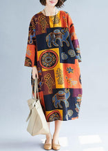 Load image into Gallery viewer, French o neck pockets linen dresses Fashion Ideas print Dresses