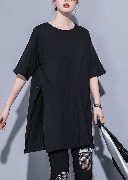 French o neck side open cotton tops Photography black blouse summer