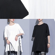 Load image into Gallery viewer, French o neck side open cotton tops Photography black blouse summer
