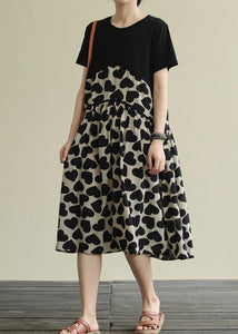 French o neck wrinkled Cotton clothes For Women Runway black print Dress