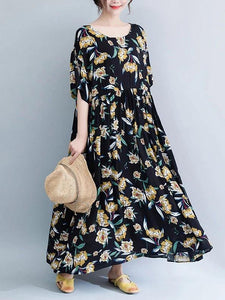French o neck wrinkled cotton Tunics Runway black print Maxi Dresses