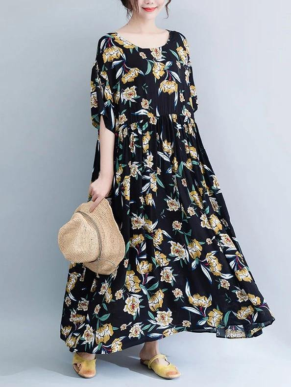 French o neck Cinched cotton Tunics Runway black print Maxi Dresses