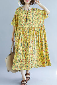 French o neck wrinkled cotton dress 2019 design yellow print A Line Dresses Summer