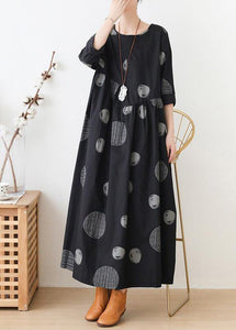 French o neck Cinched dresses Neckline black dotted Maxi Dress