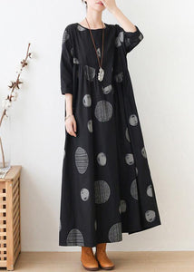 French o neck wrinkled dresses Neckline black dotted Maxi Dress