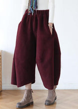 Load image into Gallery viewer, French pants stylish red Tutorials elastic waist wide leg pants