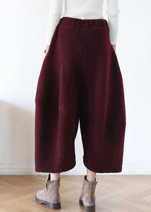 French pants stylish red Tutorials elastic waist wide leg pants