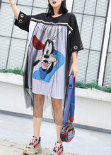 Load image into Gallery viewer, French patchwork Cotton tunic dress Shirts black prints Dresses summer