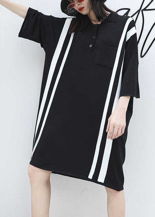 0091cee12 ... Load image into Gallery viewer, French patchwork big pockets Cotton  clothes For Women Neckline black ...