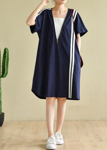 French patchwork zippered clothes Tunic Tops navy Dress