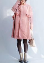 Load image into Gallery viewer, French pink Fashion trench coat Sewing side open ruffles collar jackets