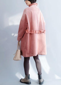 French pink Fashion trench coat Sewing side open ruffles collar jackets