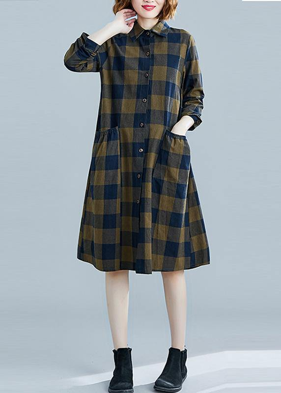 French plaid Cotton clothes Women lapel pockets daily spring Dresses