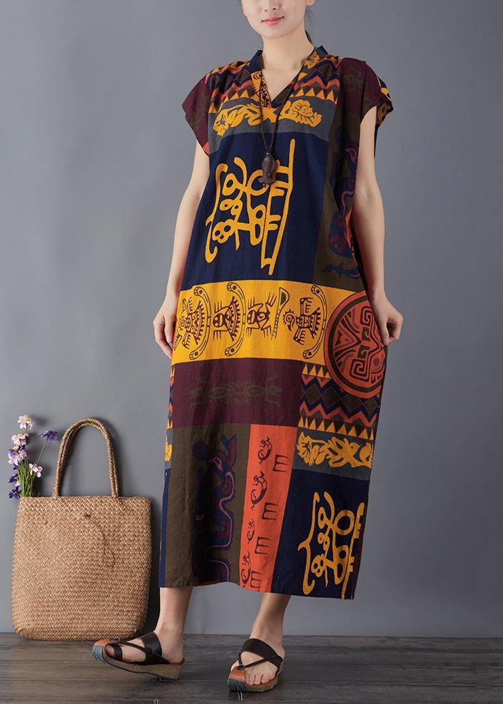 French print cotton quilting clothes v neck Maxi summer Dresses