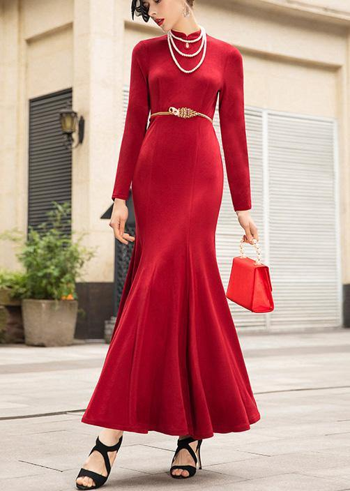 French red cotton Wardrobes Mermaid dress Traveling stand collar Dresses