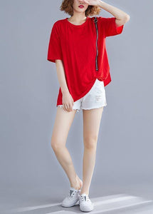 French red cotton o neck zippered Vestidos De Lino summer shirts
