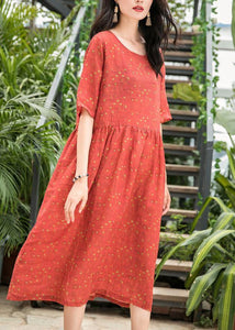 French red dotted linen dresses o neck patchwork long summer Dress