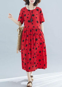 French red linen cotton tunic pattern dotted short summer Dress