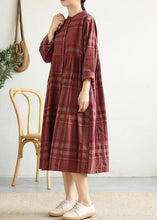 Load image into Gallery viewer, French red plaid cotton linen quilting clothes stand collar wrinkled Art Dress