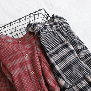 French red plaid cotton linen quilting clothes stand collar wrinkled Art Dress