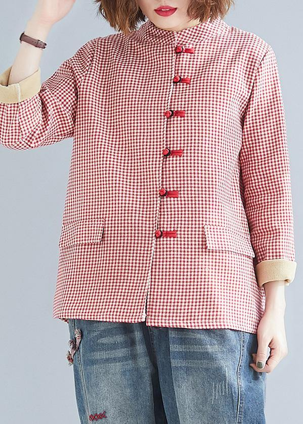 French red plaid cotton linen top silhouette Outfits stand collar pockets blouses