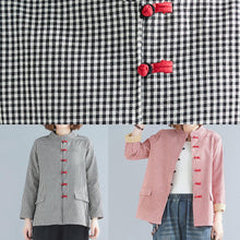 Load image into Gallery viewer, French red plaid cotton linen top silhouette Outfits stand collar pockets blouses