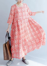Load image into Gallery viewer, French red print cotton Robes o neck half sleeve Traveling fall Dresses