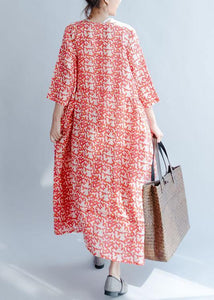 French red print cotton Robes o neck half sleeve Traveling fall Dresses