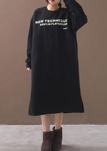 French side open cotton alphabet prints clothes Women Catwalk black winter cotton Dresses