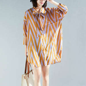 French side open cotton top silhouette Organic Photography yellow striped Knee blouse long sleeve