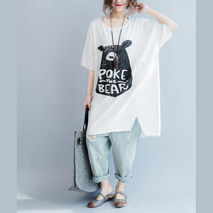 French side open pockets cotton clothes Plus Size Fashion Ideas white loose tops