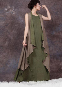 French sleeveless linen Long Shirts Runway green outwear summer