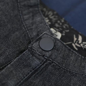 French stand colla pockets cotton Shirts Work denim black shirt