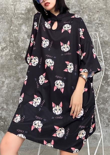 French stand collar outfit Photography black Kitten pattern Dresses