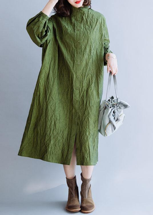 French stand collar wrinkled cotton tunics for women Outfits green Vestidos De Lino Dress fall
