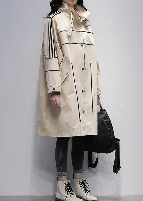 French stand collar zippered  outwear khaki silhouette coats