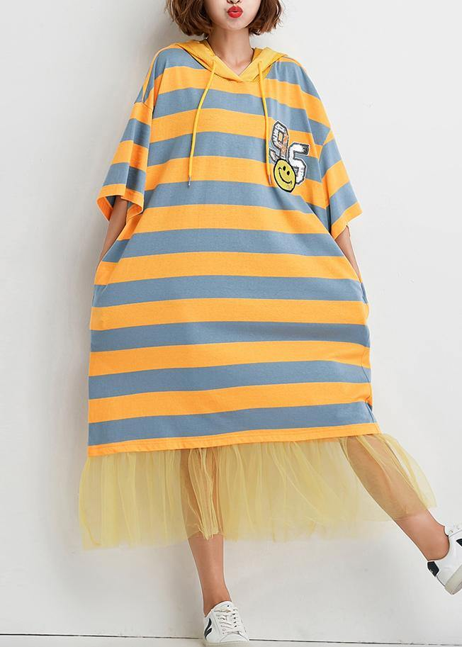 French striped Cotton outfit patchwork tulle baggy summer Dress