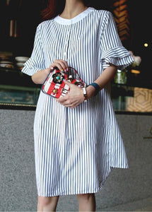 French striped Cotton quilting dresses o neck Ruffles Midi Dress