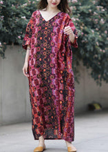 Load image into Gallery viewer, French v neck baggy cotton clothes Catwalk floral loose Dresses